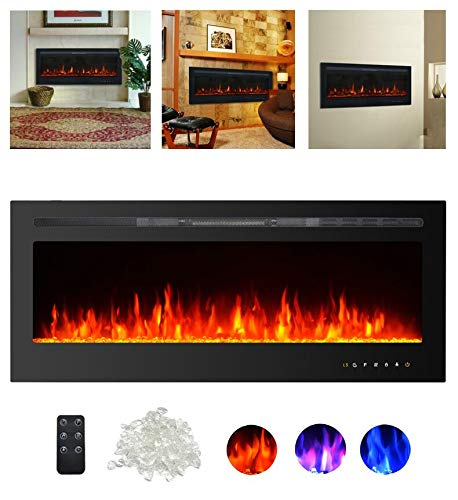 Kullavik 50 Recessed Electric Fireplace, Remote Control with Timer,Touch Screen Heater, Log Crystal Hearth Options,Wall Mounted Insert Adjustable Flame Color Speed,750 1500W, Black