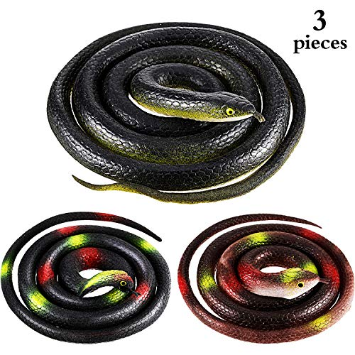 meekoo 3 Pieces Large Realistic Rubber Snakes 47.2 Inches and 31.5 Inches Fake Snake Black Mamba Toys for Garden Props, Pranks, Halloween Party Decoration]()