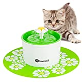 Hommii Pet Drinking Water Flower Fountain for Cats and Dogs Pets - Cat Dog Water Dispenser - Automatic Electric 1.6L Super Silent (with mat - green)