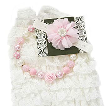 5ade507ef6c Baby Girl Lace Romper Set- Baby Birthday Outfit Cake Smash Photo Prop by  Pretty Baby