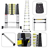 Todeco - Telescopic ladder, Foldable Ladder - Maximum load: 330 lbs - Material: Aluminium alloy - 12.5 feet, Stabilizing bar, FREE Carry bag, EN 131