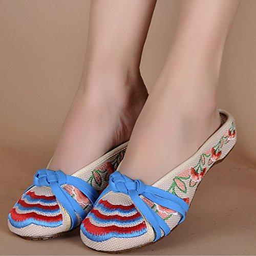 Danse En Beige Chaussures Maison Véritable Voyage Tourisme HONG De Tissu Loisirs JIA Pantoufles Broderie Linge qSxSgA