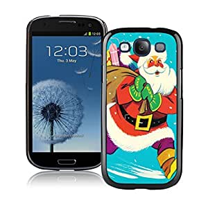 S3 Case,Colorful Christmas Gift Santa Claus Silicone Black Samsung Galaxy S3 Case,S3 I9300 Protective Case