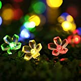 Solar Outdoor String Lights, Hosyo 16ft 20 LED Waterproof Solar Powered Fairy Blossom Flower String Lights Christmas Lights for Christmas, Garden, Yard, Patio, Home, Parties Decoration