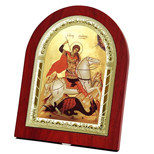 Icon George (FengMicon Saint George Wooden Back with Metal Trim Frame Orthodox Icon Religious Painting for Wall and Table (FMS-25 Gold))