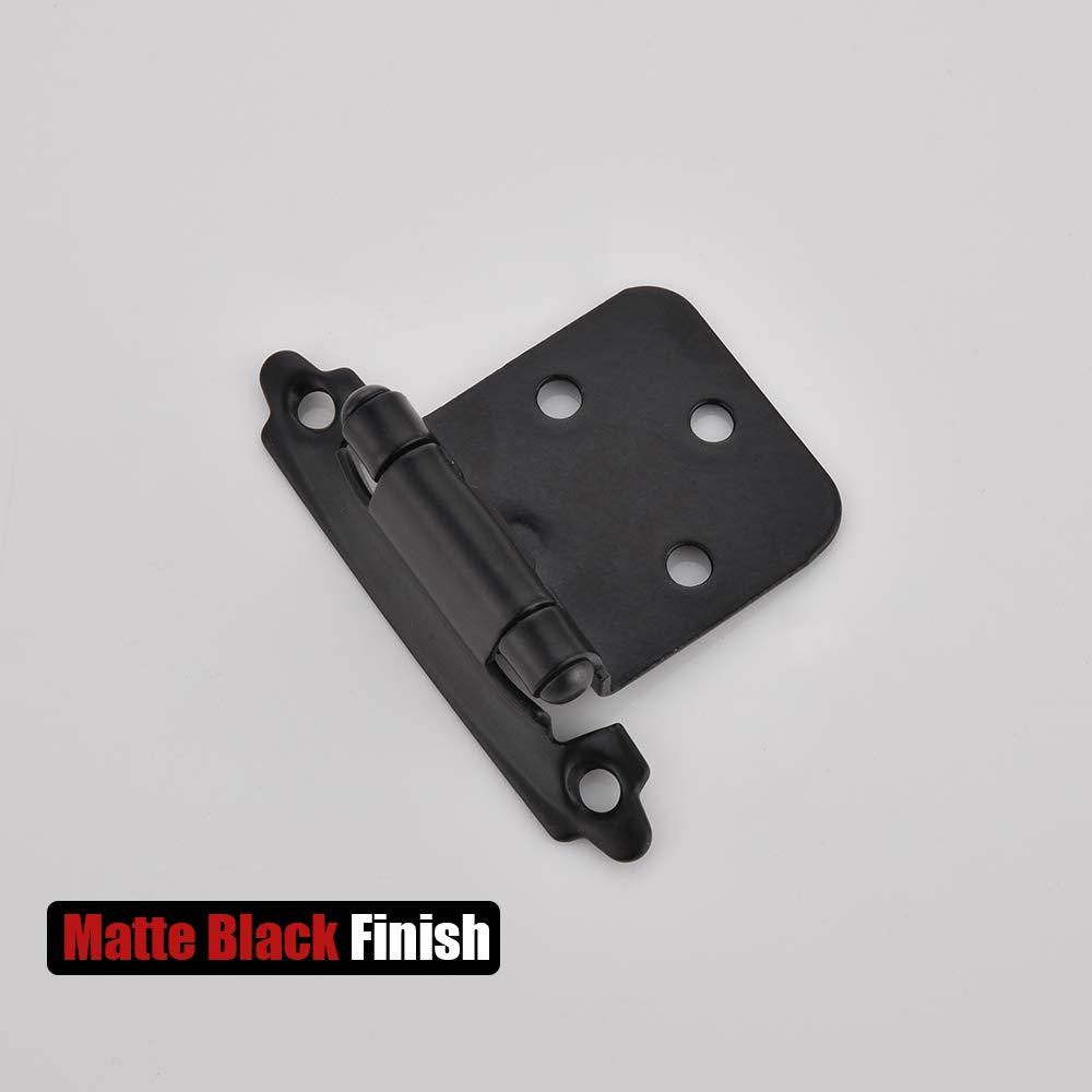 CH200-BK-P20 Flush Cabinet Hinges 20 Pack Matte Black JQK 1//2 Inch Overlay Cabinet Door Hinges