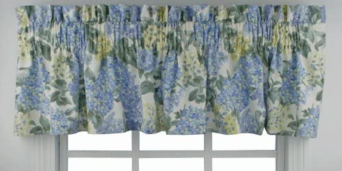 Ellis Curtain Hydrangea Floral Print Tailored Valance 70-Inch-by-12-Inch