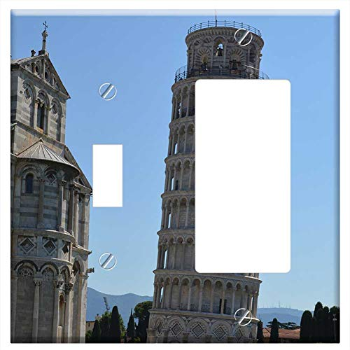 1-Toggle 1-Rocker/GFCI Combination Wall Plate Cover - Pisa Italy Leaning Tower Building Landmark Ho