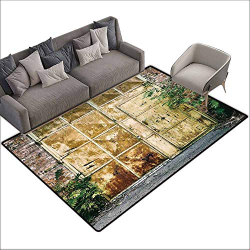 (Large Floor Mats for Living Room Colorful Industrial,Rustic Brick House Still Door with Moss and Dirt Urban Garage Outdoor Image,Green Yellow 80