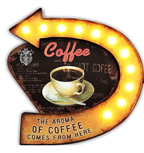 Alice's Collection - MDF Wall Sign With Metal Frame LED Light Up- Hot Coffee - 46x45x5cm EAST WALL CO LTD