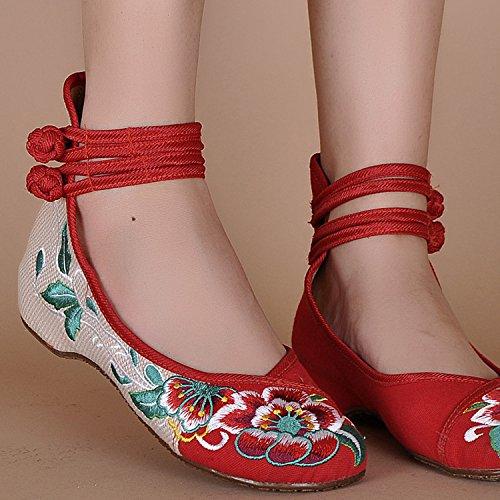 Icegrey Bordado Floral De Tiras De Tobillo Ponte En Los Zapatos Para Las Mujeres Rojo