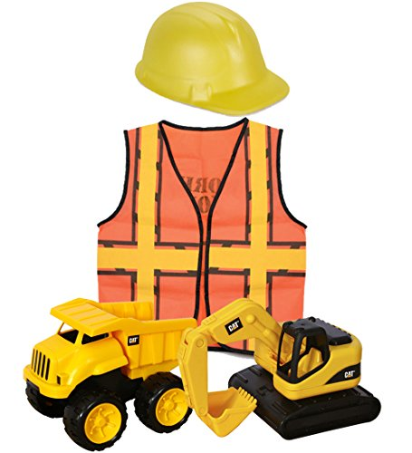 Yellow Foam Construction Hat (CAT Tough Tracks & Construction Worker Dress Up for Kids Bundle Includes 2 CAT Tough Tracks Construction Toys (Dump Truck & Excavator) Kids Construction Worker Vest & Foam Construction Hat)