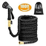 FireMK Garden Hose black 100FT Stronger Double Latex Inner Hose Pipe Tube Solid Brass Prevent Leaking Strongest Expandable (With Valve) Garden Water Hose with Extra Strength Fabric and Professiona