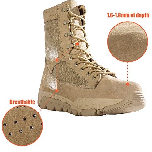Free soldier Hombre Outdoor Táctica Guantes Resistente al agua taktisch Botas Senderismo Botas de lucha Tactical Guantes Tactical Boots Sandfarbe