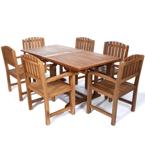 All Things Cedar 7 Piece Teak Rectangle Extension Table with Dining Chairs Set, (Expandable Teak Dining Table)