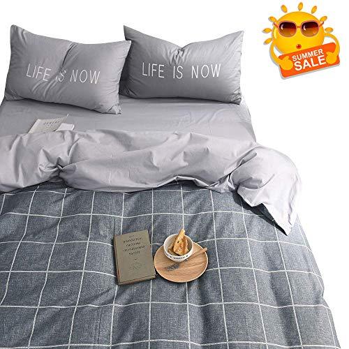 (BuLuTu Plaid Grid Hotel Quality Duvet Cover Set Full Cotton Grey with 2 Pillowcases,Super Soft Kids Bedding Collections Queen Bedding Sets for Teen Boys Girls Men Women Zipper Closure,NO Comforter)