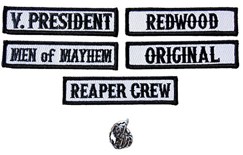 (Officer Title Rank Vest Patches V President MC Biker club Patch Set (6pc-Iron On With Reaper)