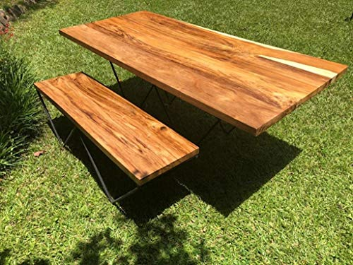 Straight Edge Wood Table – Mid Century Modern – Live Edge Table and Bench