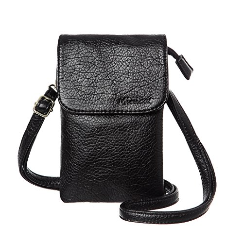 MINICAT Roomy Pockets Series Small Crossbody Bag Cell Phone Purse Wallet For Women(Black)