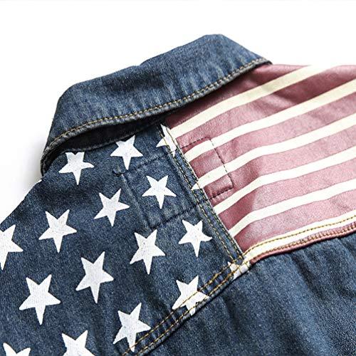 Jeans Denim Outwear Petto Giacca Tookang In Cappotto Uomo Blu Sul Retro Con 06 Giacche Trucker Capispalla Di Jacket Tasche x6SSIY