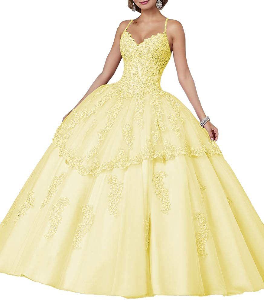 Light Yellow Sweet Bridal Women's Long Spaghetti Straps Open Back Beaded Lace Appliques Quinceanera Dresses Ball Gowns