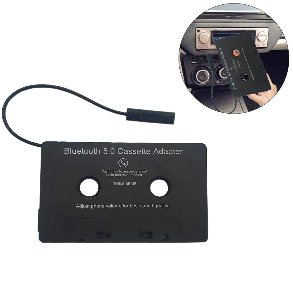 mooderff Adaptateur Cassette Jack Audio Bluetooth pour Voiture Smartphone et Tablette