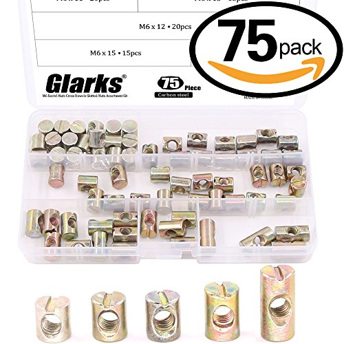 Glarks 75Pcs Metric M6 Barrel Nuts Cross Dowels Slotted Nuts Furniture Nuts for Beds Crib and Chairs - 5 Size of 11mm / 12mm / 13mm / 15mm / 20mm (Barrel 20mm)