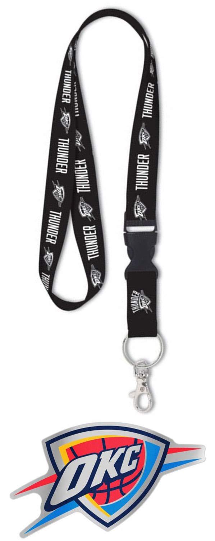 Bundle 2 Items: NBA Oklahoma City Thunder 1 Premium Lanyard Blackout Edition and 1 Auto Badge Decal Hard Thin Plastic by WinCraft
