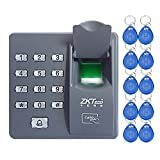 LIBO Fingerprint Machine Biometric Fingerprint Access Control Keypad, 500 Users, with 10pcs Proximity RFID 125KHz Cards Keyfobs, for Home/Office Electric Door Lock System