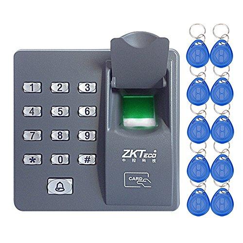 - LIBO Fingerprint Machine Biometric Fingerprint Access Control Keypad, 500 Users, with 10pcs Proximity RFID 125KHz Cards Keyfobs, for Home/Office Electric Door Lock System