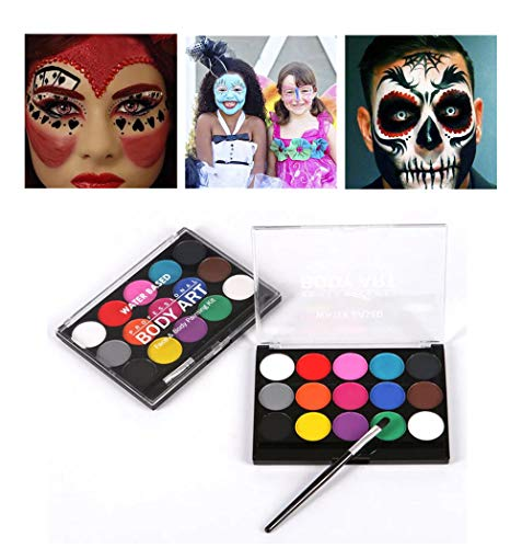 HMwish Face Paint Kit for Kids,Professional Quality Face & Body Paint, Hypoallergenic Safe & Non-Toxic, Easy to Painting and Washing, Ideal for Halloween Party Face Painting,15 Colors with Brush