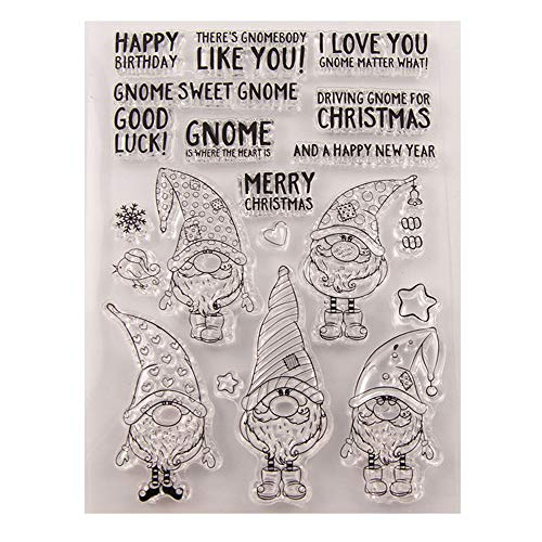 Merry Christmas Happy New Year Gnome Clear Stamps for Christmas Cards Making Decoration and Scrapbooking Rubber Stamps for Craft
