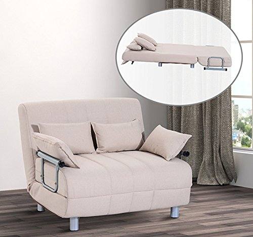 Homcom divano letto matrimoniale in acciaio e tessuto di poliestere con 4 cuscini crema shop - Cuscini divano on line ...