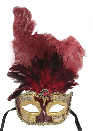 Forum Mardi Gras Costume Masquerade Half Mask With Feathers, Red/Gold, One Size ()