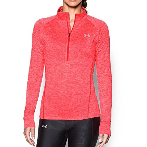 Under Armour Boys' Under Armor Women's tech 1/2 Zip Twist, Marathon Red (963)/Metallic Silver, Medium