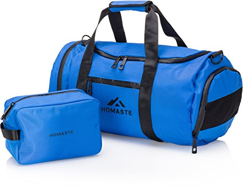 70543537ada0 Homaste Gym Bag Bundle - Designer Gym Bag for Men and Women with Bonus Dopp  Kit, Vented Shoe Compartment, and Waterproof Nylon Shell - Electric Blue