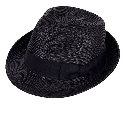 Straw Fedora Hat Sun Trilby Unisex Summer Beach Hats Fashion Panama with Short Brim for Men and Women(B-Black)