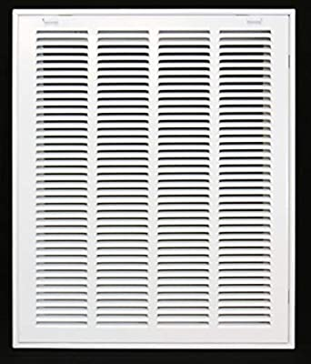 """16"""" X 20 Steel Return Air Filter Grille for 1"""" Filter - Removable Face/Door - HVAC DUCT COVER - Flat Stamped Face - White"""