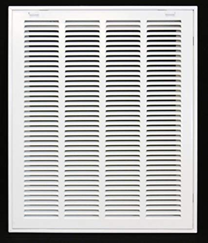 """16"""" X 20 Steel Return Air Filter Grille for 1"""" Filter - Removable Face/Door - HVAC Duct Cover - Flat Stamped Face - White [Outer Dimensions: 18.5 X 21.75]"""