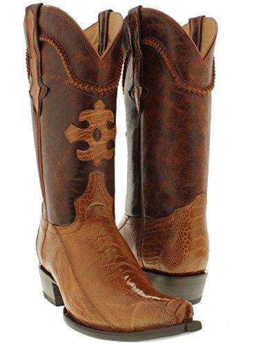 Cowboy Professional Men's Cognac Genuine Ostrich Leg Skin Cowboy Boots Pointed 6.5 EE (Skin Alligator Boots Cowboy)
