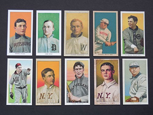 1909 T-206 (10) Card Baseball Reprint Lot including (Tris Speaker,) (Ty Cobb) (Honus Wagner) (Walter Johnson) (Christy Mathewson) (Cy Young) (Rube Waddell) (Napleon Lagoie) (Three Fingers Brown) -
