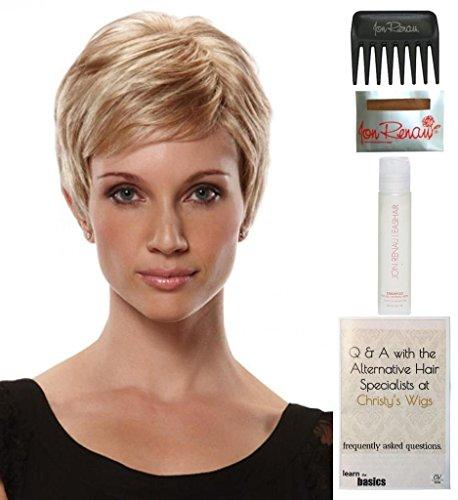 Comfort Mono Wig Cap - Bundle - 5 items: Simplicity Monofilament Wig by Jon Renau, Christy's Wigs Q & A Booklet, 2oz Travel Size Wig Shampoo, Wig Cap & Wide Tooth Comb - Color: 10
