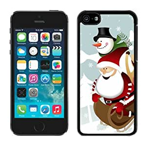 Customized Portfolio Iphone 5C TPU Case Cartoon Santa Claus with Snowman Black iPhone 5C Case 1 by icecream design