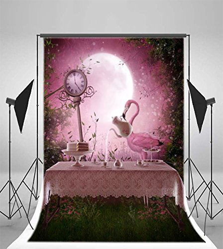 Laeacco 3x5ft Vinyl Backdrop Photography Background Fantasy Garden Pink Flamingo Table Tea Set Pink Tone Evening Scenery Clock Full Moon Wonderland Forest Princess Girls Baby Portraits Halloween]()