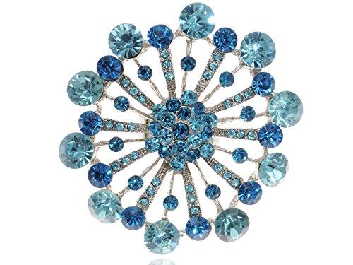 Alilang Womens Adjustable Silvery Tone Blue Rhinestones Starburst Firework Snowflake Flower Ring (Starburst Adjustable Ring)
