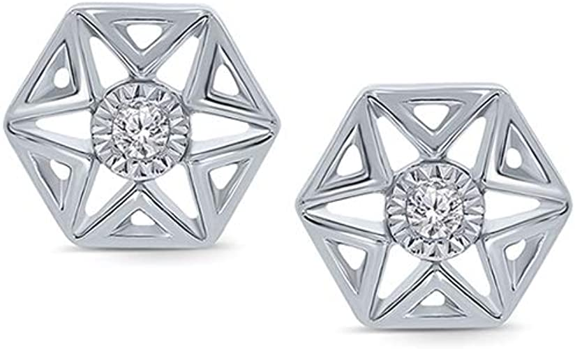 925 Sterling Silver Hexagon Stud Earrings Design 2