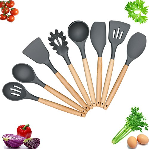 Kitchen Utensils - Cooking Utensil - 8-piece Silicone Utensil Set Spatula Set - Nonstick Utensil Set - Kitchen Tools and Gadgets with Wood Handle - Kitchen Utensil Set Silicone Utensils