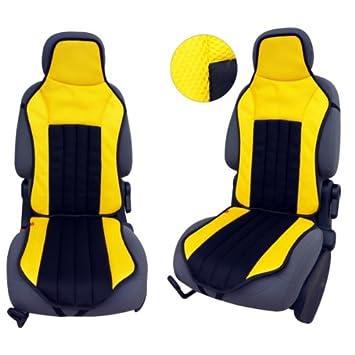 Amazon.es: CSC105 - Cojín para asiento de coche, Funda Cubierta de asiento Protector Asiento de coche, respaldo asiento Fun Negro/Amarillo