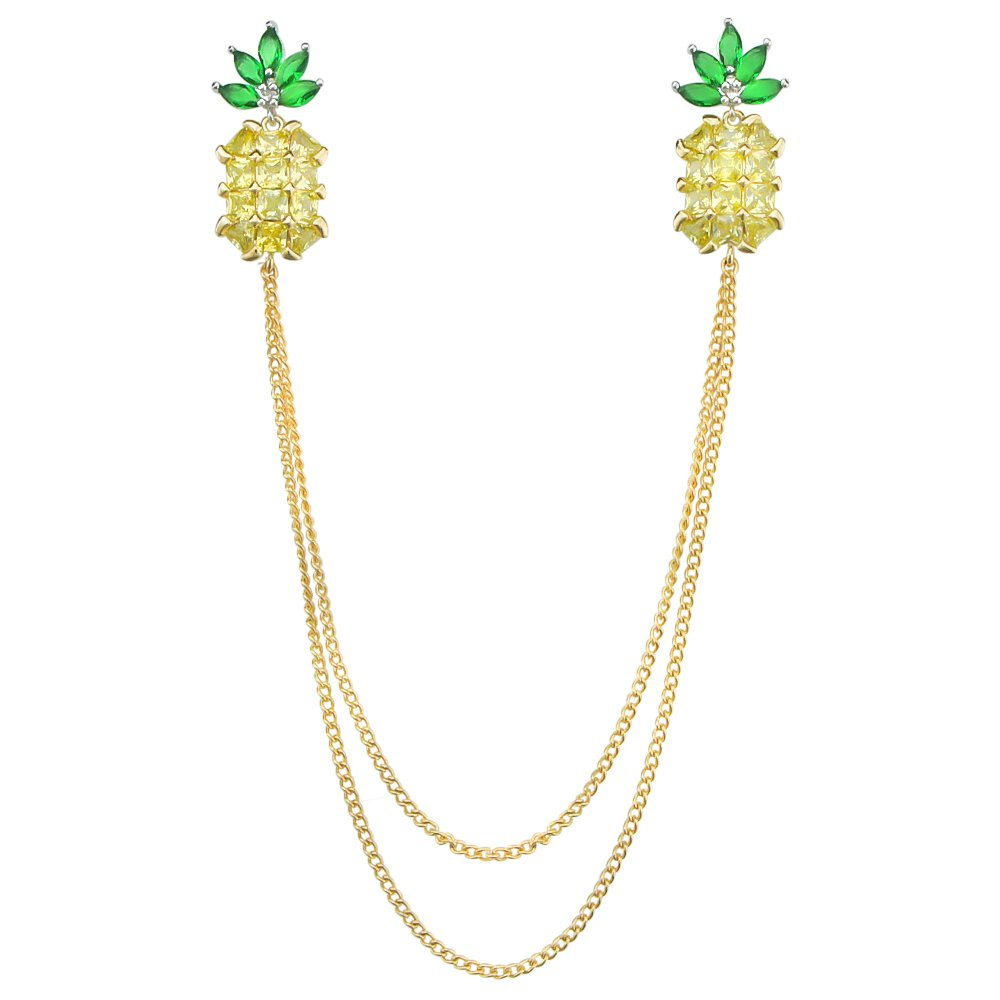 DMI Summer Holiday Jewelry Gold-Tone Crystal Pineapple Fruit Chain Brooch Pin
