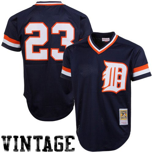 Throwback Baseball Jersey - MLB Mitchell& Ness Kirk Gibson Detroit Tigers 1984 Authentic Throwback Mesh Batting Practice Jersey - Navy Blue (XX-Large)